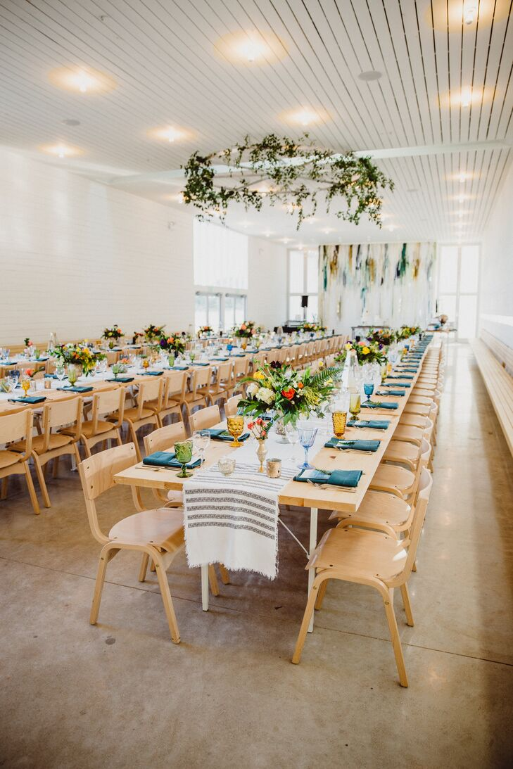 Bright Bohemian Glassware and Woven Table Runners