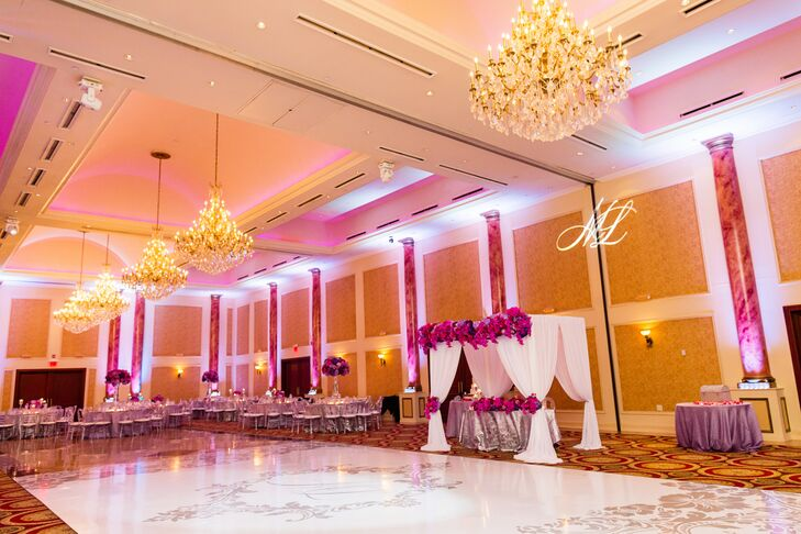 Elegant Ballroom with Pink Lighting
