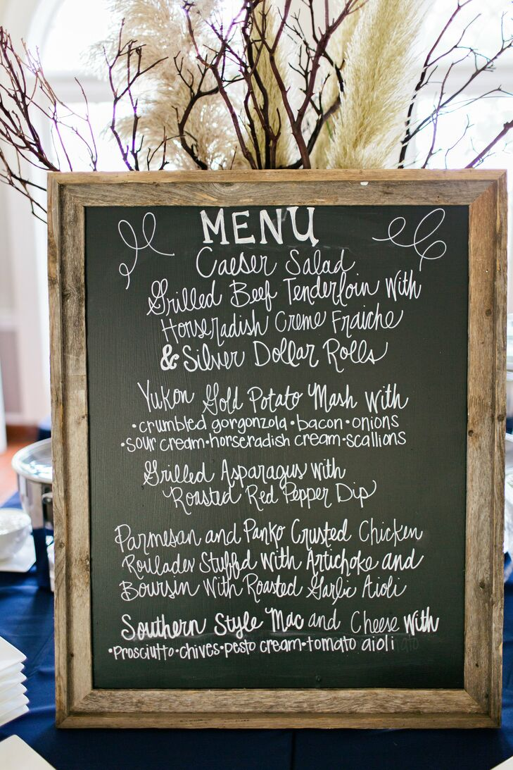 Guests found their menu choices, which included a mashed potato bar and a mac & cheese bar, on a large chalkboard.