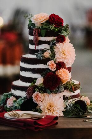 Naked Cake Topped with Roses and Chrysanthemums