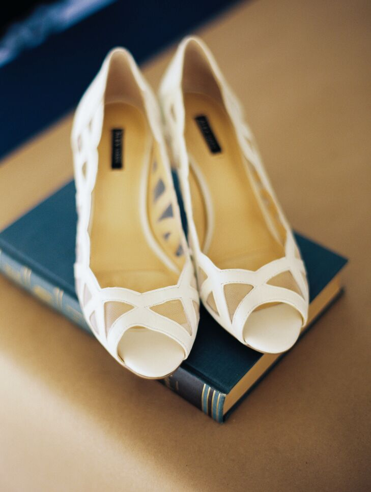 White Peep-Toe Wedge Shoes