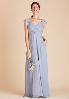 Birdy Grey Kae Bridesmaid Dress in Dusty Blue V-Neck Bridesmaid Dress