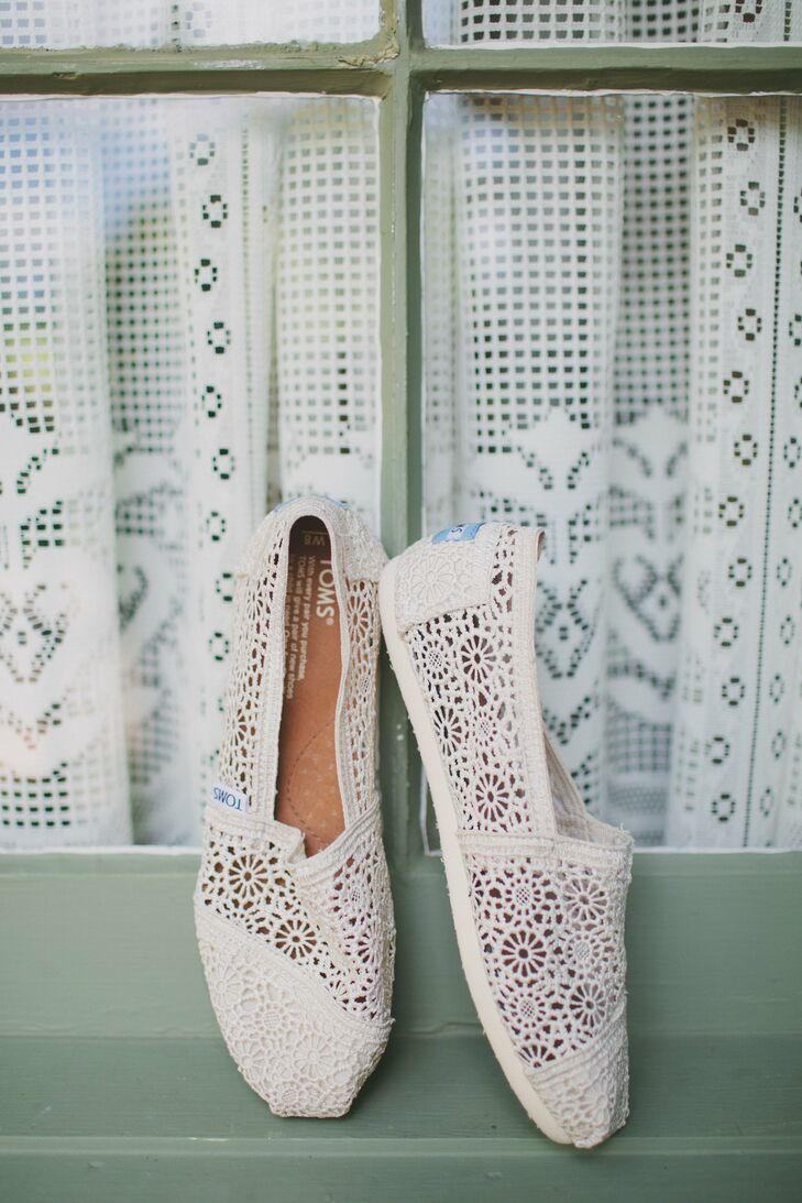 eed6770a49f Erin wore a pair of ivory lace TOMS to match her ivory lace and taffeta  wedding