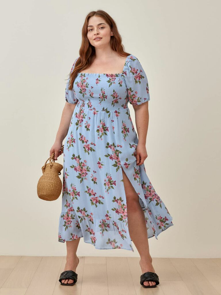 floral print midi dress with slit and puff sleeves