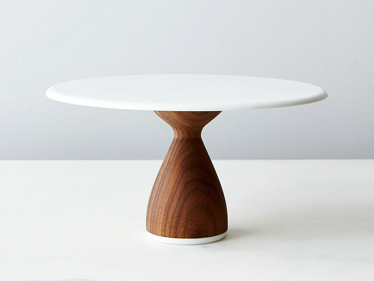White and wooden wedding cake stand
