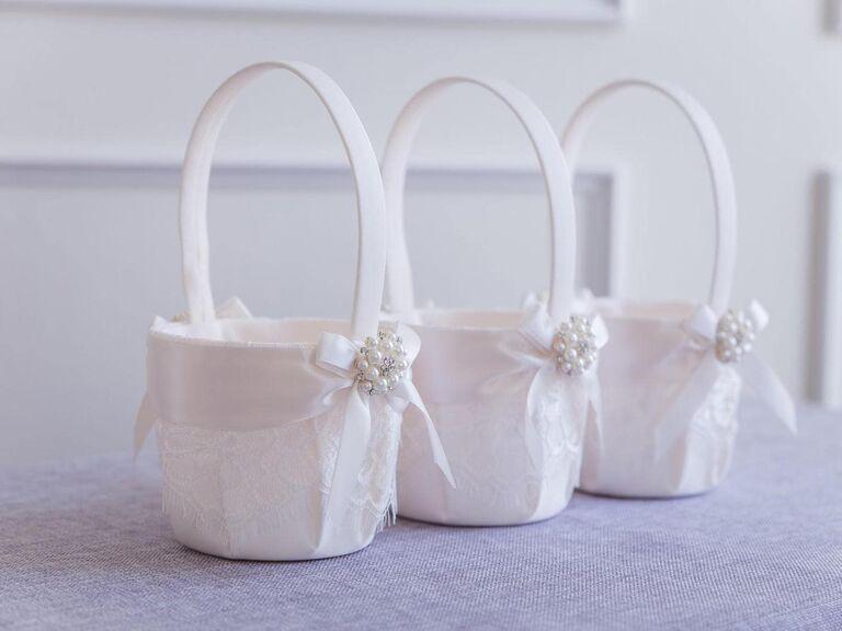 vintage lace flower girl basket