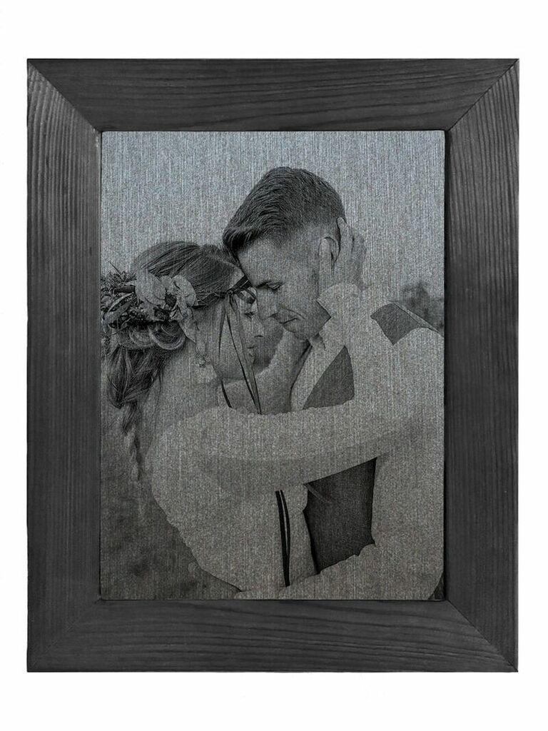 Couple's wedding photo recreated on iron