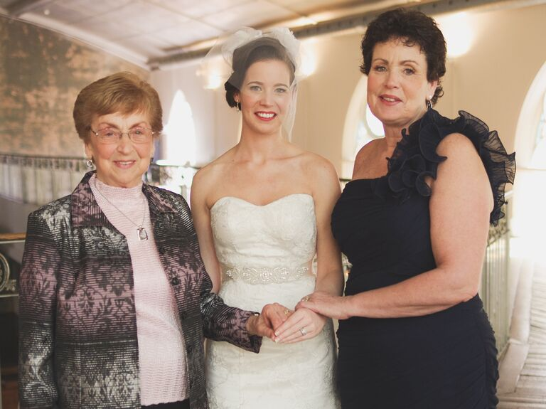 Grandmother Mother And Bride Portrait On Wedding Day