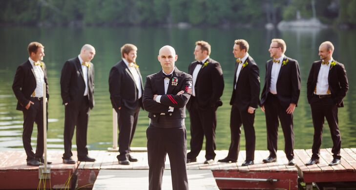 The groomsmen wore classic black tie tuxedos, while Eben wore his US Enlisted Navy tuxedo.