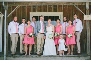 Pink Knee-Length Bridesmaid Dresses
