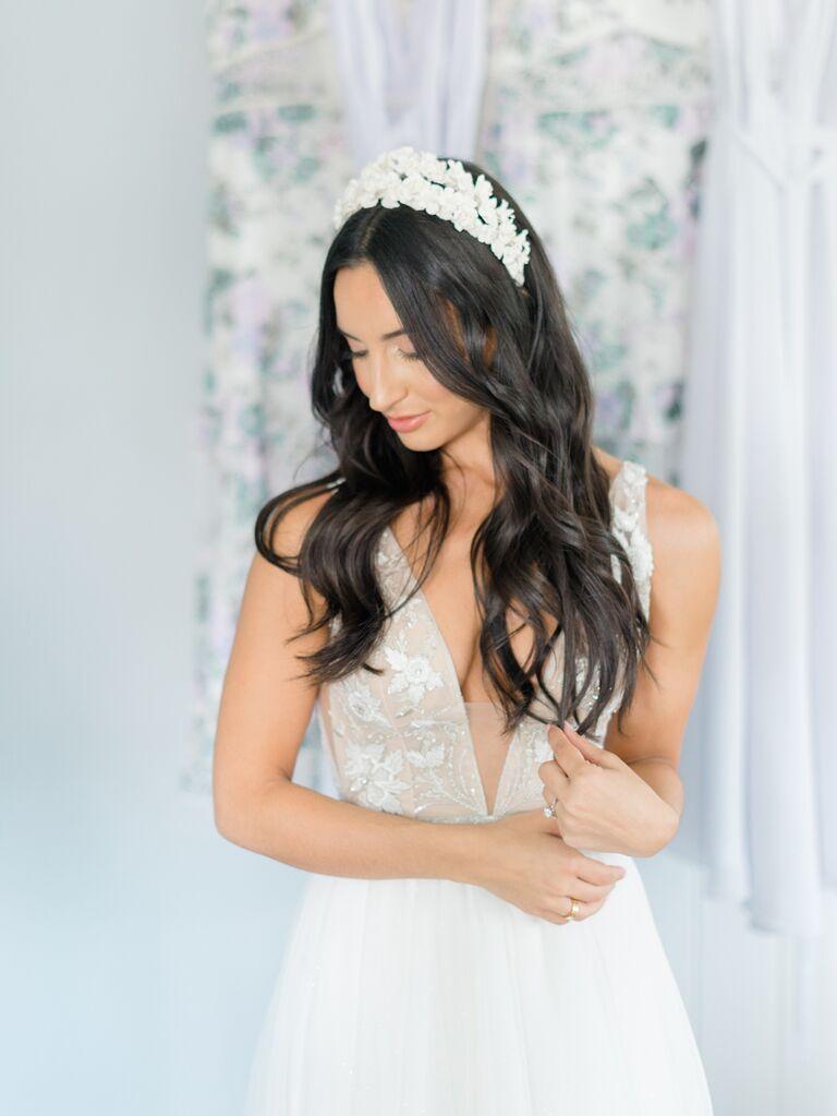 Bride wearing embellished headband