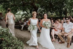 Brides Recessing at Spanish Garden Wedding