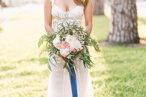 Textured Fern, Waxflower and Blush Floral Bouquet