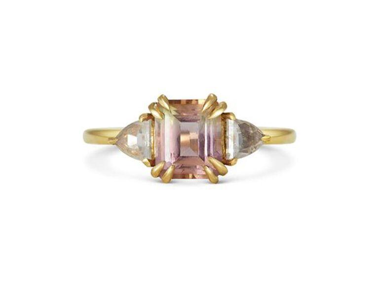Peach tourmaline and diamond engagement ring