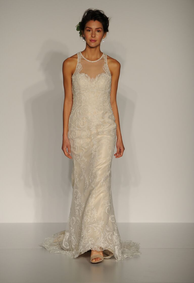 Maggie Sottero Fall 2016 sleeveless dress with illusion neckline and lace embellishments