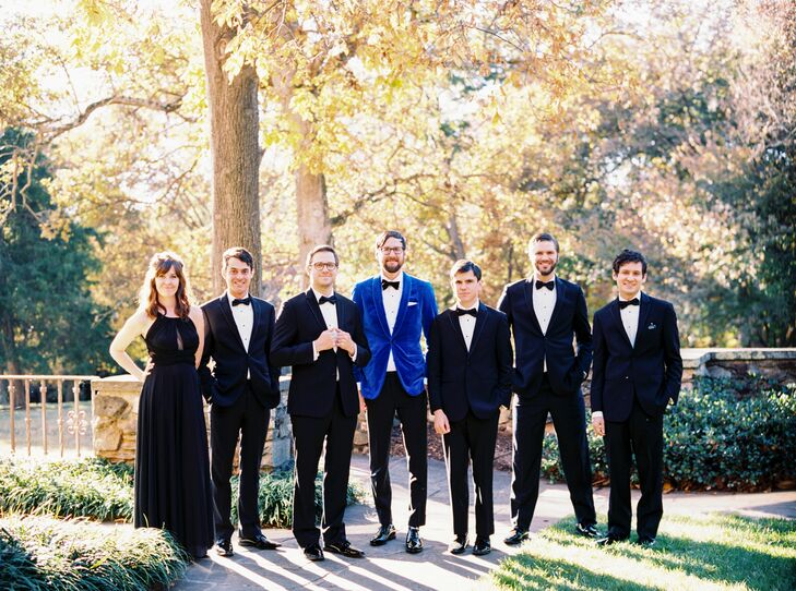 Groomsmen and a Groomsmaid in Black Tie