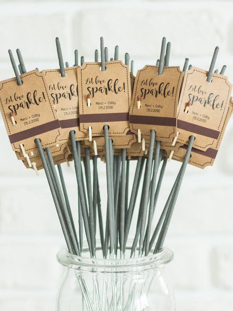 Backyard wedding ideas sparkler tags