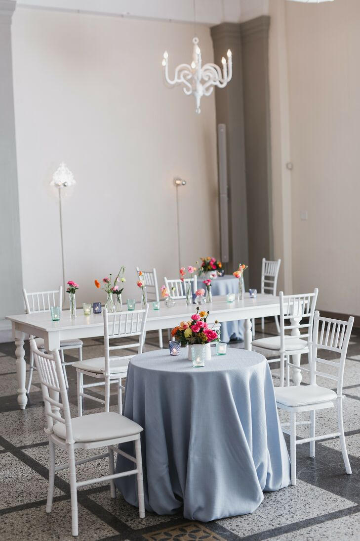 Blue-and-White Reception Decor at Loring Social in Minneapolis, Minnesota