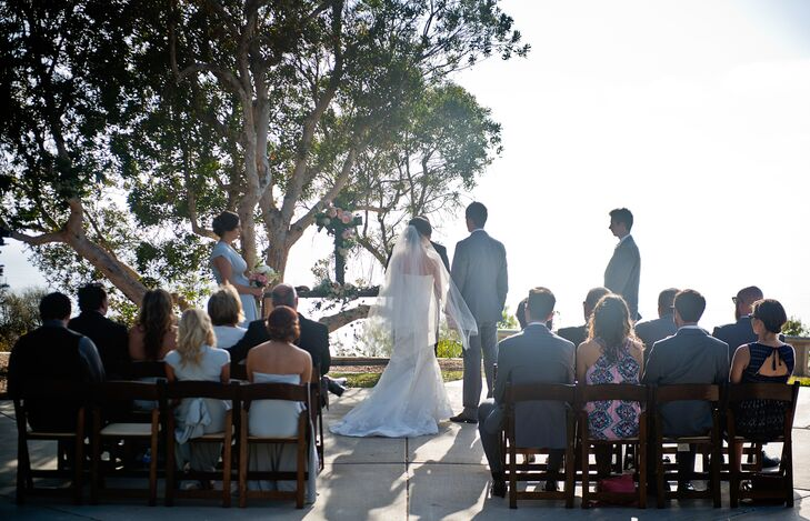 The couple exchanged vows in front of 20 of their closest family and friends in an intimate ceremony at Point Loma University. The university's scenic, serene park overlooked the Pacific Ocean.