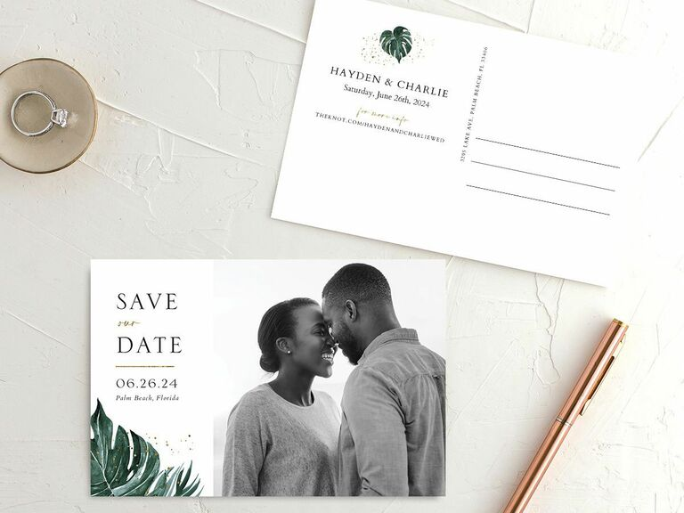 greenery destination wedding save the date