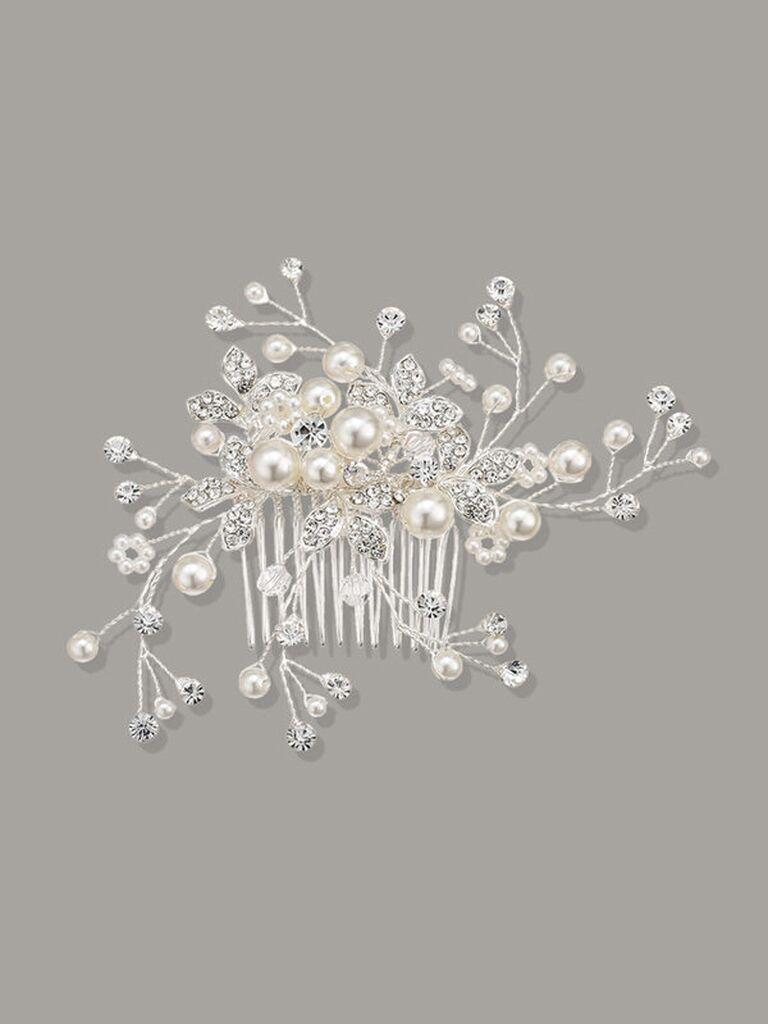 wedding hair pieces baby's breath pearl comb