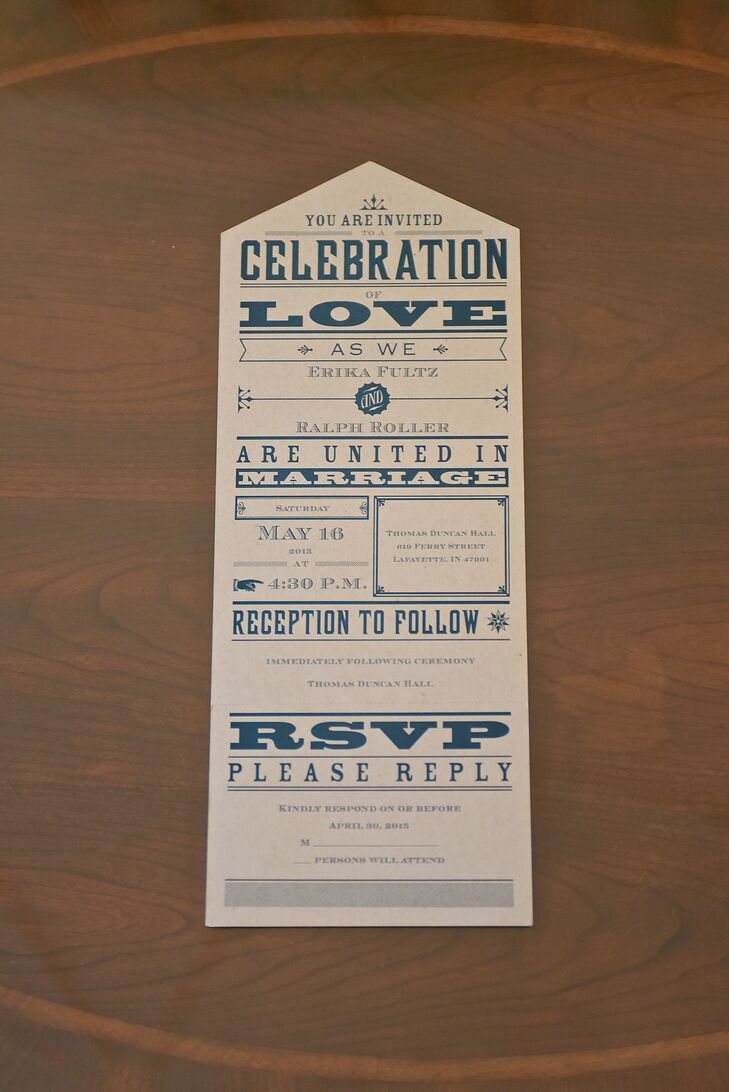 The invites featured modern script in blue and a detachable RSVP card.