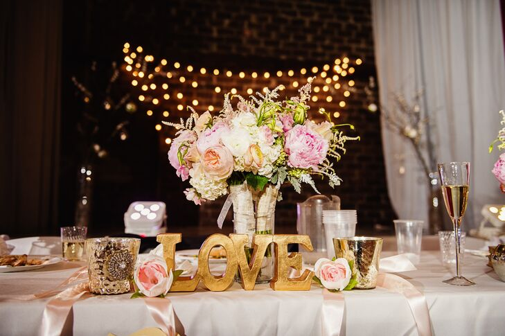 Pink Peony Gold Love Letter Reception Table Decor