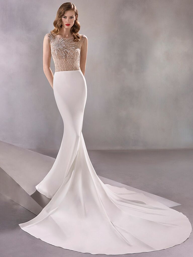 Atelier Provonias wedding dress trumpet gown with sheer beaded bodice