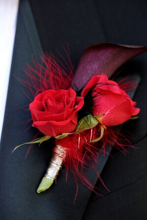Red Rose and Calla Lily Boutonniere