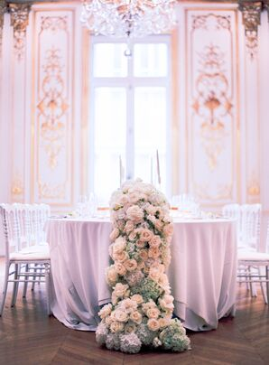 Elegant, Intimate Reception With Flower Garlands at at La Maison des Centraliens