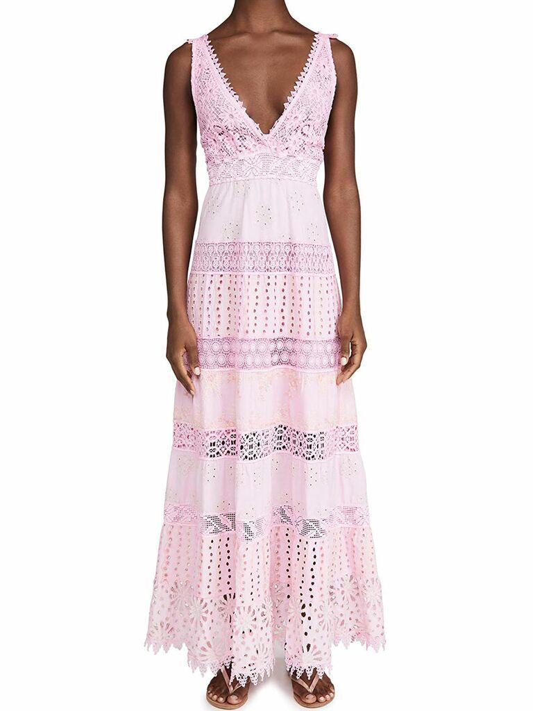 light pink sleeveless lace maxi dress with deep v neckline