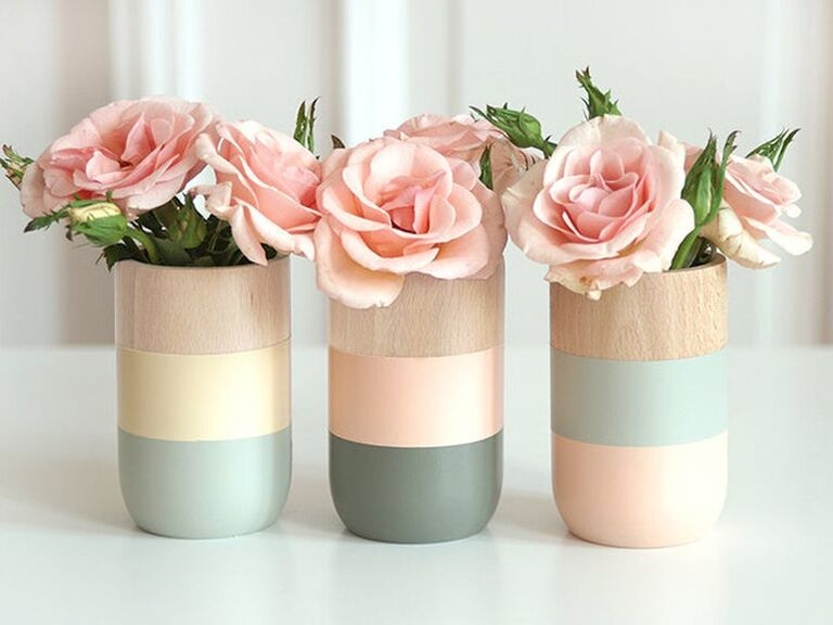 Set of wooden vases sixth anniversary gift idea