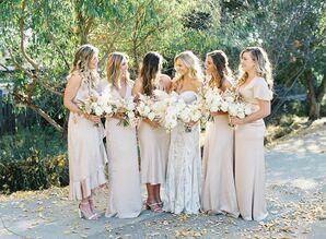 Bridesmaids in Neutral-Hued Dresses at Franciscan Gardens in San Juan Capistrano, California