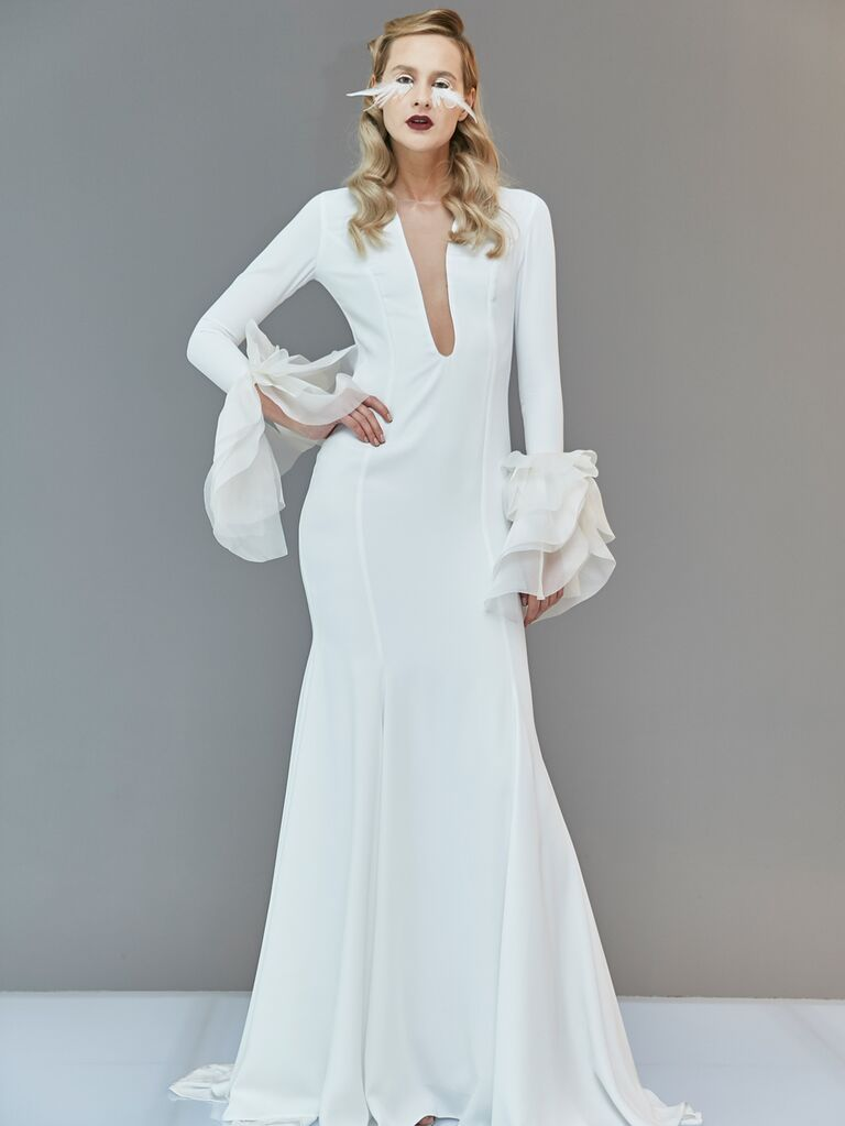 Francesca Miranda Spring 2020 Bridal Collection plunging wedding dress with dramatic statement sleeves