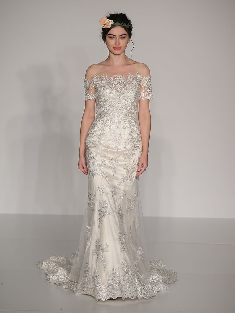 Maggie Sottero Fall 2017 off-shoulder lace illusion mermaid wedding dress