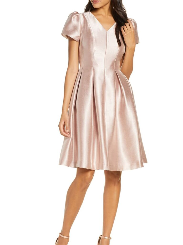 Rose gold satin dress with puff sleeves