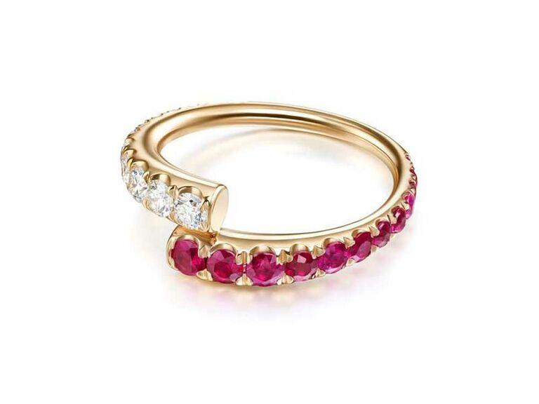 Diamond and ruby pavé eternity band