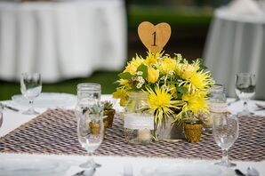 Heart-Shaped Number in Yellow Centerpiece