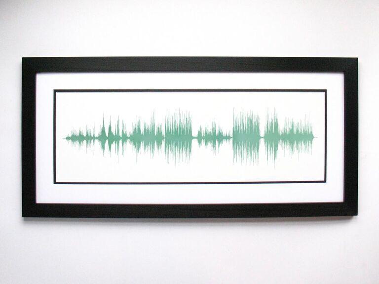 Sound wave art printed in jade green ink