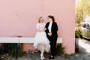 Casual Same-Sex Brides Wearing Tulle Skirt and Suit