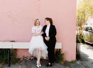 """Kathleen Saunders and Kayla Kantola's casual wedding was a surprise for their guests. """"When our big day arrived, only a few people knew we were gettin"""