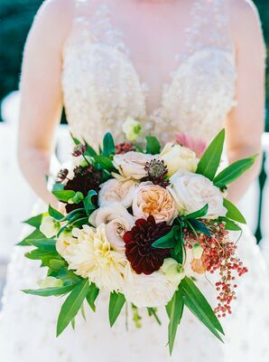 Rustic Pink and Burgundy Bouquet with Hydrangeas, Dahlias, Garden Roses and Hellebores