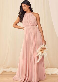 Lulus True Adoration Blush Sleeveless Pleated Maxi Dress Halter Bridesmaid Dress