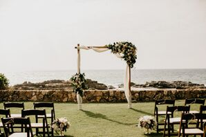 Simple, Elegant White Wedding Arch With Garlands