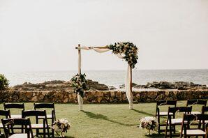 Simple, Elegant White Wedding Arch With Garlands