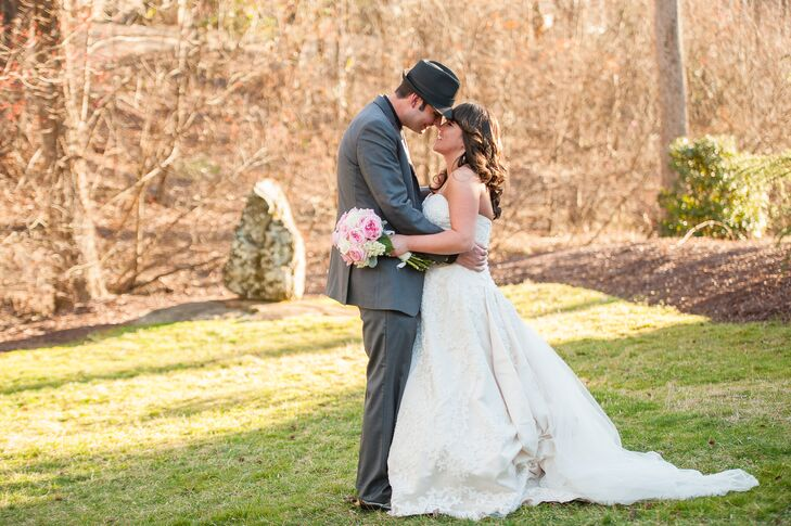 """The couple drew inspiration from their venue for their vintage wedding style. """"Our wedding took place at an old Italian-inspired clubhouse,"""" says Tricia. """"We did our best to give the day an old-world feel with a few sentimental additions."""""""