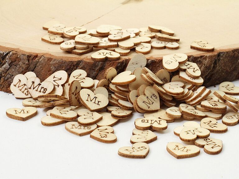 engraved wood heart table confetti