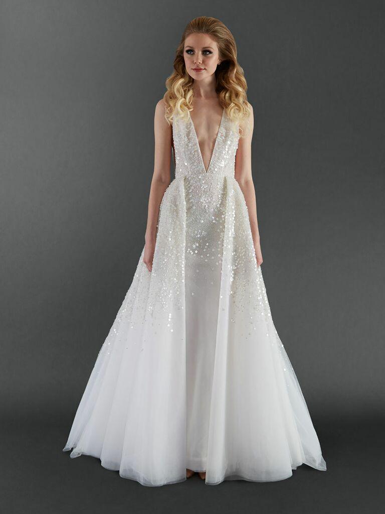 0fbba8615 Randi Rahm Fall 2017 deep v-neck sequined wedding dress with detachable  skirt