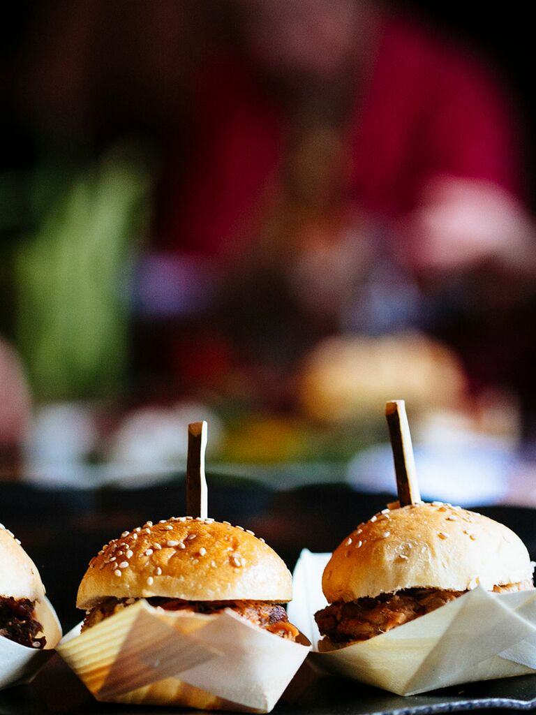 Mini sliders for a wedding reception snack
