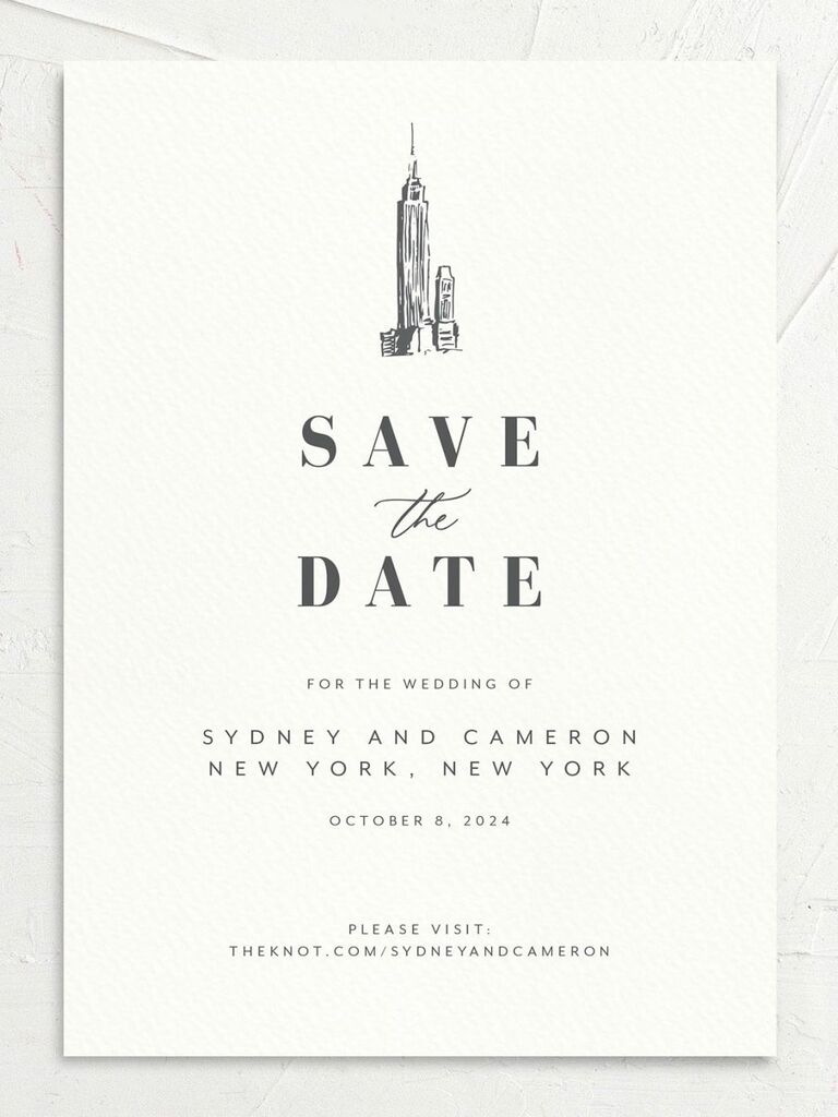 new york city destination wedding save the date